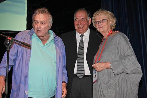 Actor-writer-director Assi Dayan, festival director Pnina Blayer and Haifa mayor Yona Yahav
